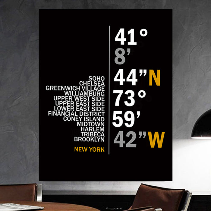 New York Coordinates Canvas