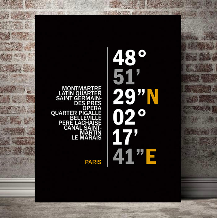 Paris Coordinates Canvas