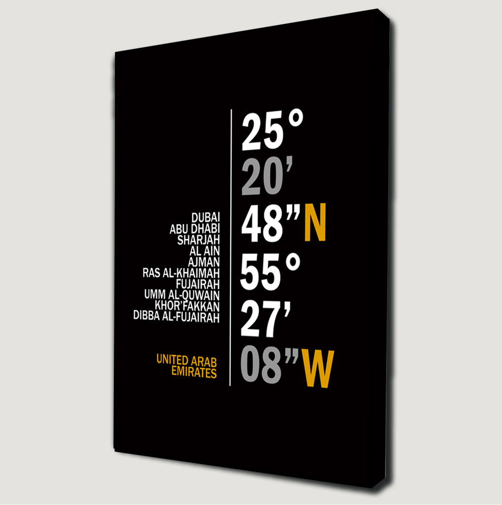 United Emirates Coordinates Canvas