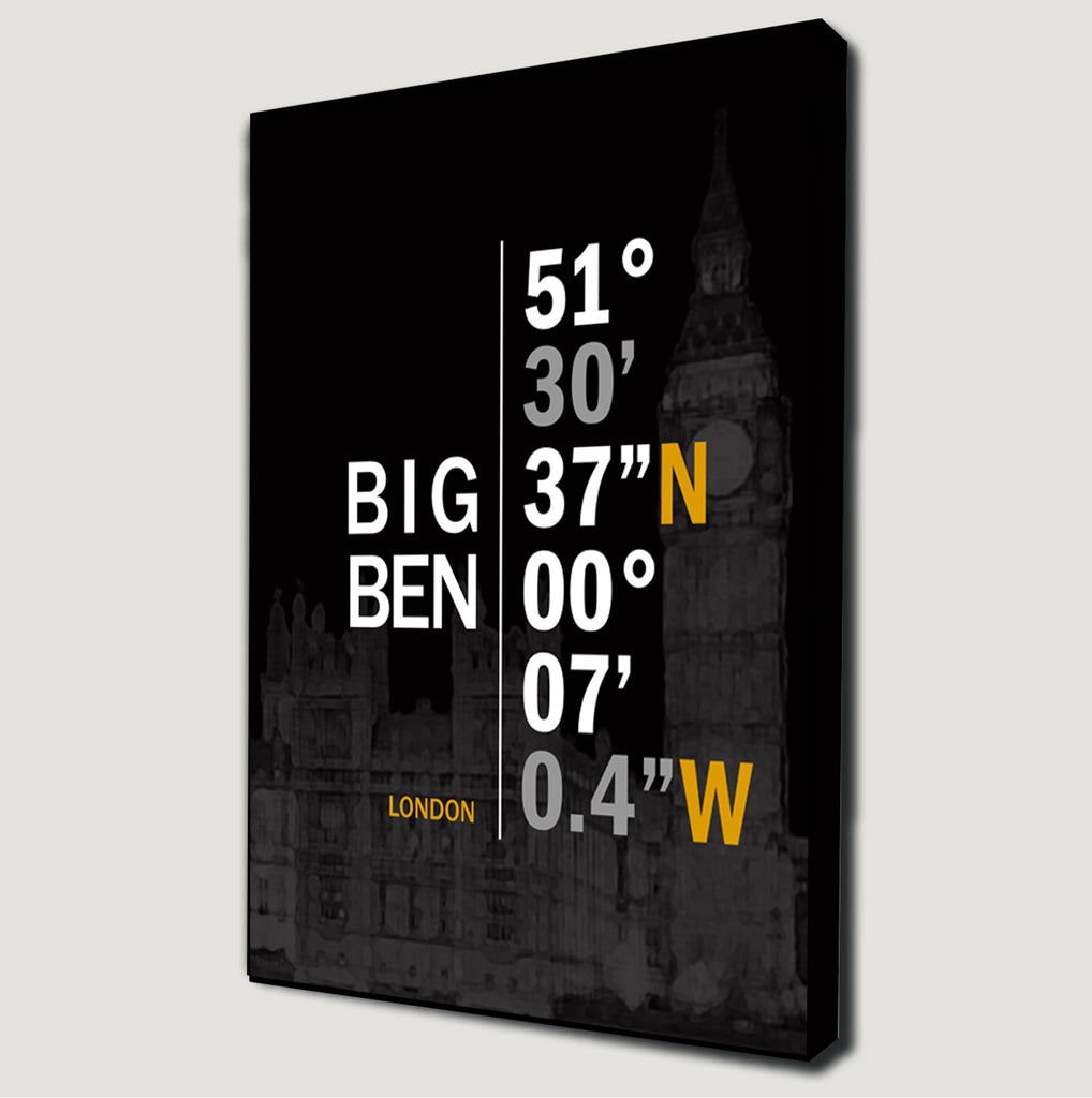 Big Ben (London) Coordinates Canvas