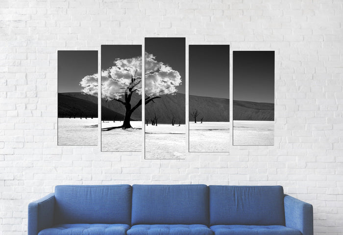 Black And White Cloud Tree Canvas
