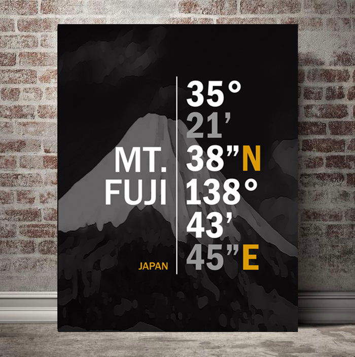 Mount Fuji Coordinates Canvas