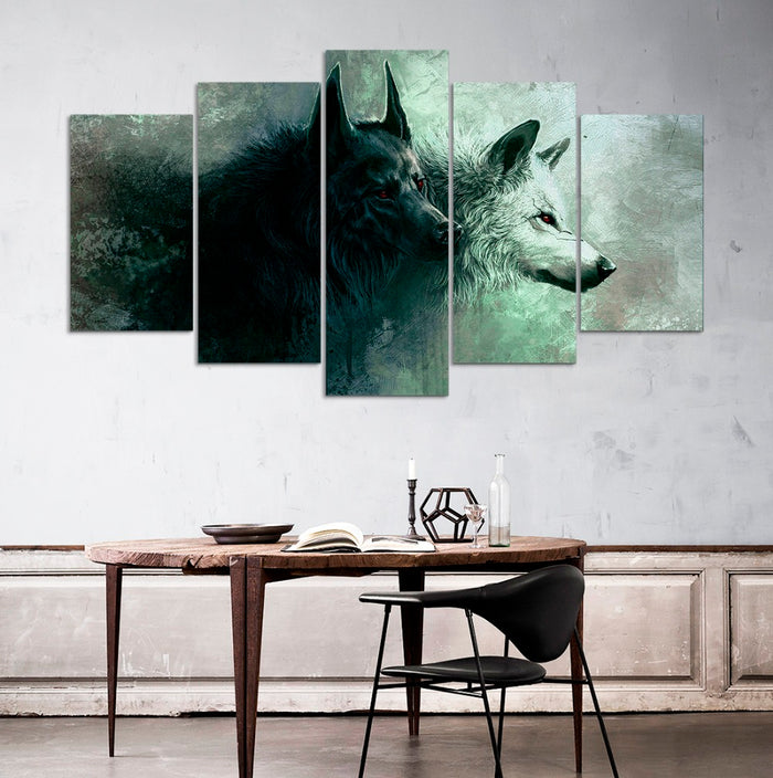 5 PC Wolves Canvas