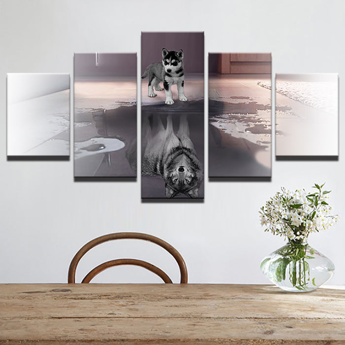 5 PC Husky Wolf Canvas