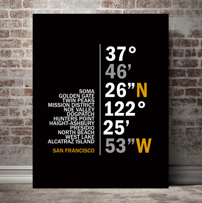 San Francisco Coordinates Canvas