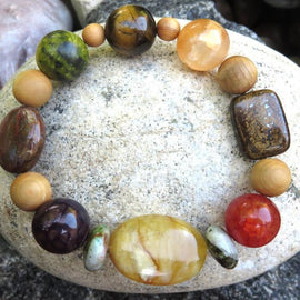 Best Natures all Natural Aromatherapy Bracelet with Cedar Wood Beads, and semi precious stones ...
