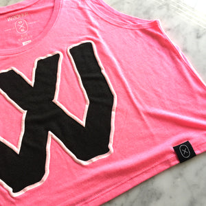 "Female Flowy Crop Top - ""W"" (Pink)"
