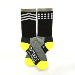 Athletic Socks Chevron and dots Mismatch  (Black)