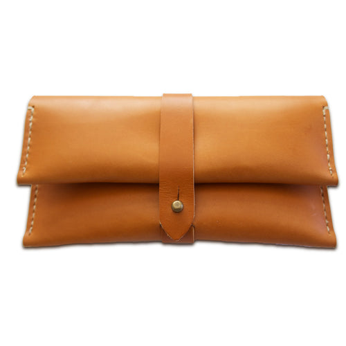 Folded Leather Stud Wallet (TAN)