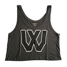 "Female Flowy Crop Top - ""W"" (Dark Heather)"