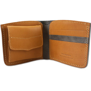 "Short Leather Wallet ""Blue Horizon"" (Grey)"