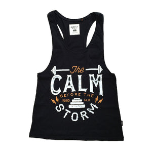 Muscle Racerback Tank - Calm Before the Storm (Black)