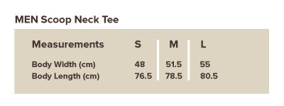 Men Scoop Tee Size Guide | Wodnut
