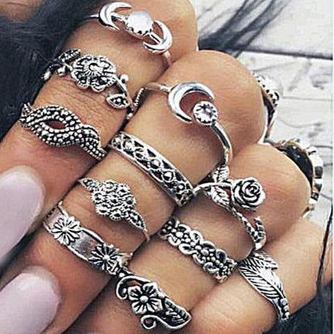 11 piece Boho Grungy Gypsy Midi Ring Set
