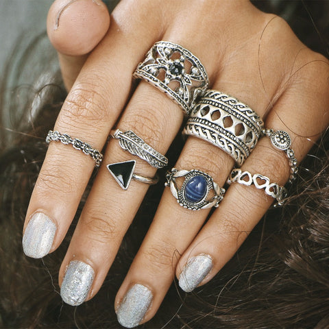7 Piece Vintage Bohemian Moonstone Ring Set