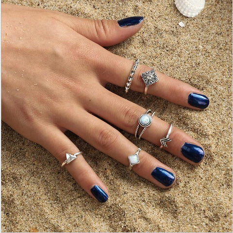 6 piece Boho Vintage Grunge Midi Ring Set