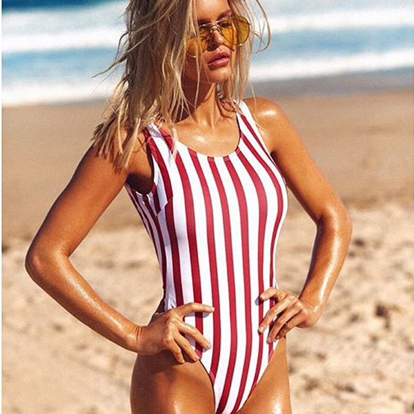 The Classic Red Stripes Swimsuit