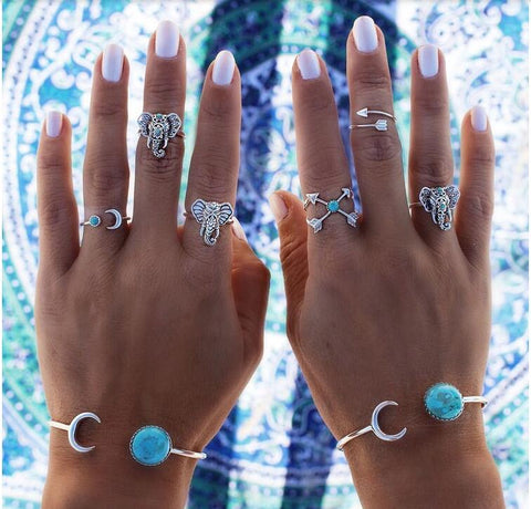 6 Piece Boho Yoga Turquoise Elephant Ring Set