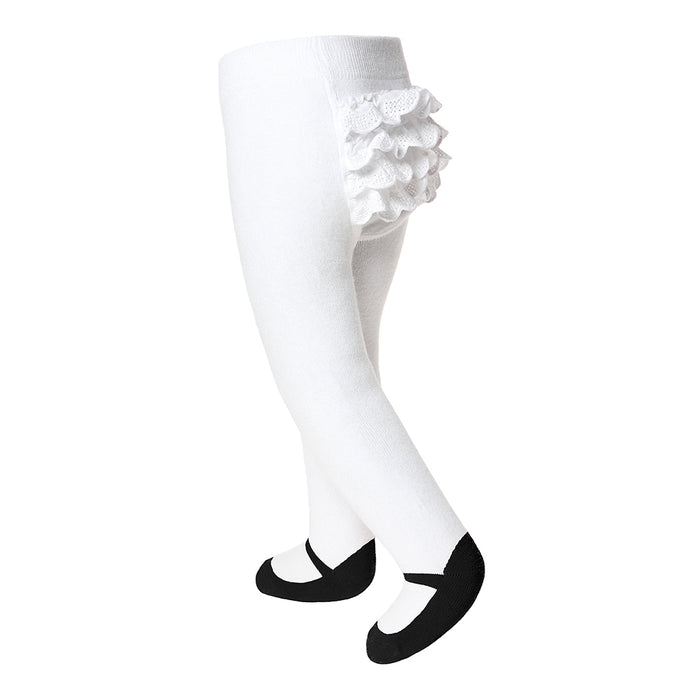 Ruffle Mary Jane Tights Black - Baby Emporio