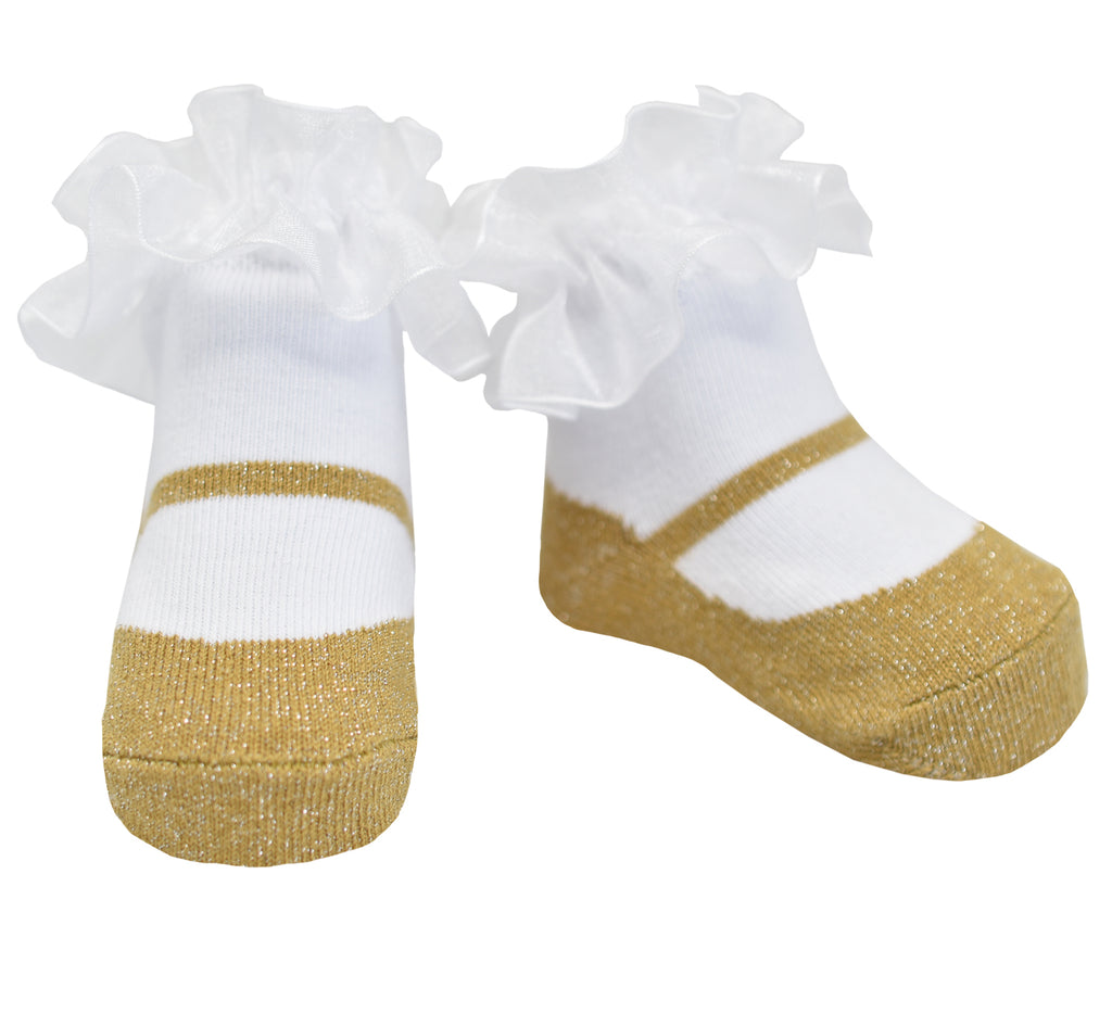 Mary Jane Sparkle Socks Gold