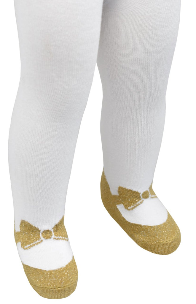 Sparkle Mary Jane Tights Gold - Bow Design