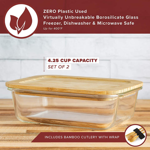 Glass Food Containers (Set of Two - 1020 ml) Plastic Free, BPA Free Bento Box. Includes Bamboo Cutlery & Adjustable Wrap.