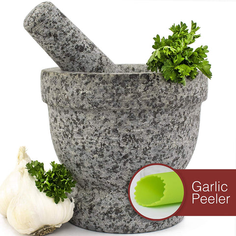 Mortar and Pestle Set - Unpolished Granite Guacamole Bowl with Bonus Garlic Peeler | 2 Cup Capacity. Nonslip Foot Pad for Stability