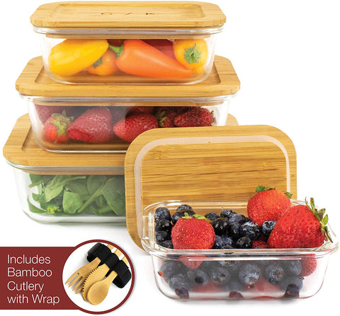Glass Food Storage Containers with Eco-Friendly, Plastic Free Bamboo Lids. Sustainable, BPA Free. Includes Bamboo Cutlery & Adjustable Wrap. Glass Bento Box Great for Meal Prep Containers
