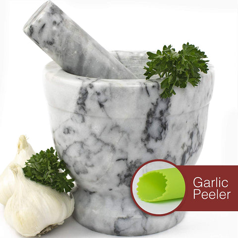 Mortar and Pestle Set - Polished White and Grey Marble Guacamole Bowl with Bonus Garlic Peeler | 2 Cup Capacity. Nonslip Foot Pad for Stability