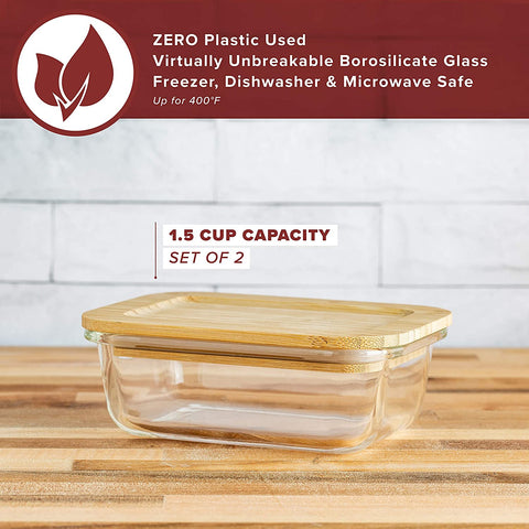 Glass Food Storage Container with Eco-Friendly, Plastic Free Bamboo Lid (Set of Two - 370 ml) BPA Free Bento Box. Sustainable Meal Prep Container