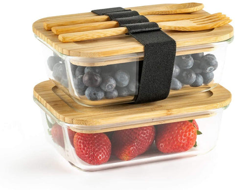 Glass Food Storage Containers with Eco-Friendly Bamboo Lids. Includes Bamboo Cutlery & Adjustable Wrap, set of two - 640 ml