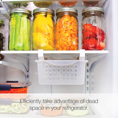 Refrigerator Organizer and Storage Drawer Pull Out Drawer Bin | Adjustable, Installs Under Shelf, Fits Most Fridges, Clear Plastic (Medium)