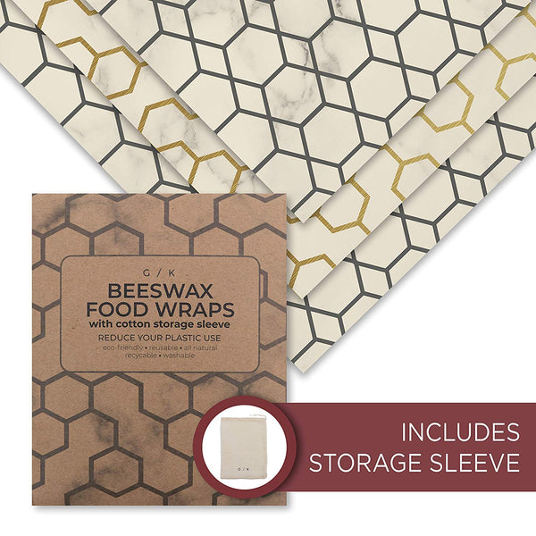 Beeswax Food Wraps - Reusable Eco-Friendly Plastic Wrap Replacement. Ecofriendly Kitchen Gift. 100% Organic Cotton, All Natural Food Grade Wax & Cloth