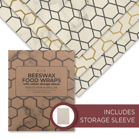 Beeswax Food Wrap - Reusable Beeswax Wrap - Eco Friendly Plastic Wraps Replacement. Eco Friendly Gifts. 100% Organic Cotton, All Natural Food Grade Wax and Cloth