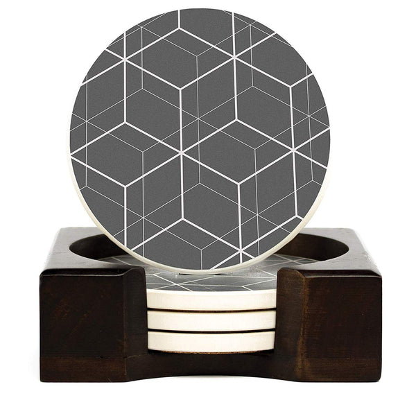 Coaster Set of 4 with Holder | Stone Drink Coasters Set, Geometric. Absorbent with Beautiful Wood Holder | Made of Ceramic with Cork Back, Absorbs Spills