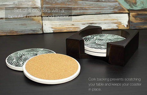 Coaster Set of 4 with Holder | Stone Drink Coasters Set, Black Palm. Absorbent with Beautiful Wood Holder | Made of Ceramic with Cork Back, Absorbs Spills