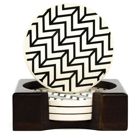 Coaster Set of 4 with Holder, Chevron