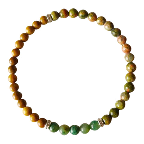 Balance, Patience & Protection - African Jade, Yellow Jasper and Unakite Sterling Silver Bracelet