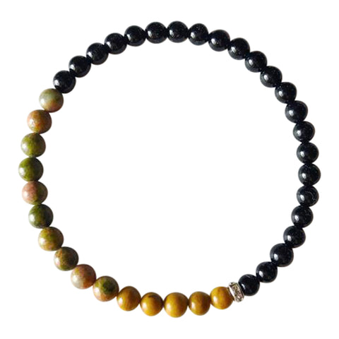 Balance, Patience & Protection - Black Onyx, Yellow Jasper and Unakite Sterling Silver Bracelet
