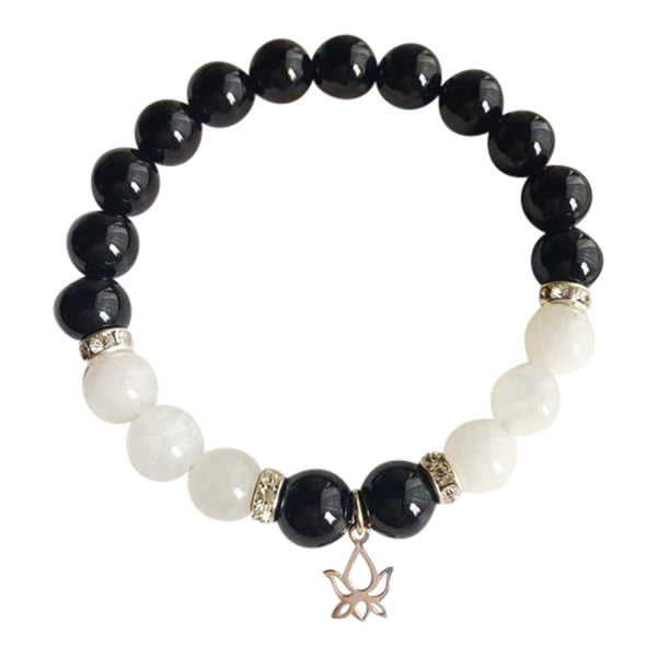 Balancing Emotions - Black Onyx & Moonstone Sterling Silver Bracelet