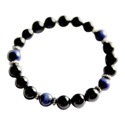 Calm and Protection - Genuine Black Onyx & Blue Tiger's Eye Sterling Silver Bracelet