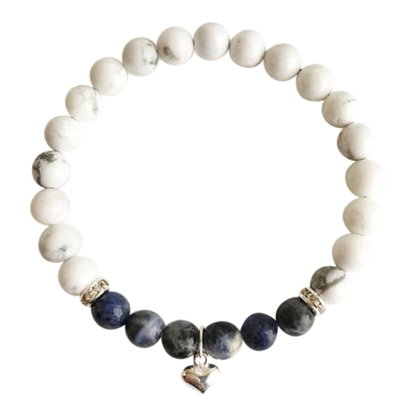 Communicate Freely - Sodalite & White Howlite Sterling Silver Bracelet