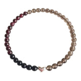 Confidence, Prosperity & Grounding - Black Onyx, Garnet and Smoky Quartz Sterling Silver Bracelet