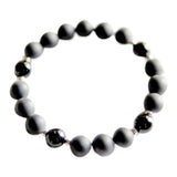Confidence, Protection & Grounding - Shiny & Matte Black Onyx Sterling Silver Bracelet