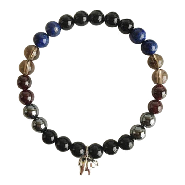 Confidence for Success - Black Onyx, Hematite, Garnet, Smokey Quartz, Lapis Lazuli Sterling Silver Bracelet