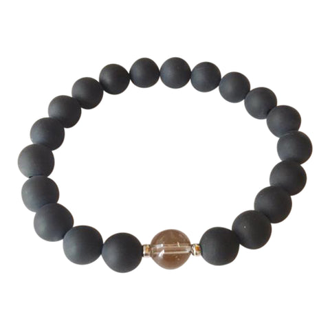 Defend Against Negativity - Matte Black Onyx & smoky Quartz Sterling Silver Bracelet