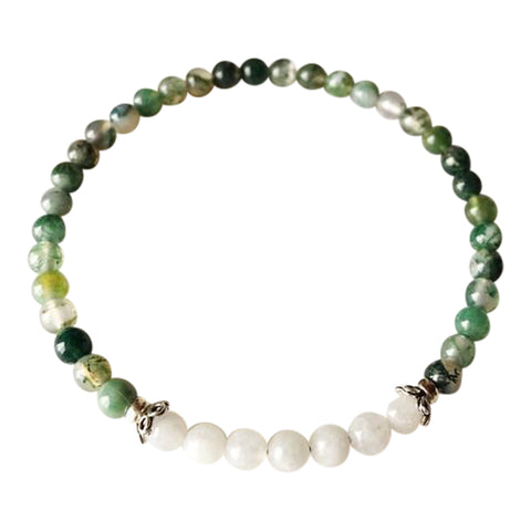 Emotional Balance & Self-Worth - Moss Agate and White Moonstone Sterling Silver Bracelet