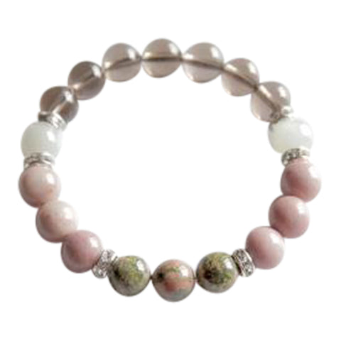 Fertility - Beautiful Genuine Unakite, smoky Quartz, Rhodonite & Moonstone Sterling Silver Bracelet
