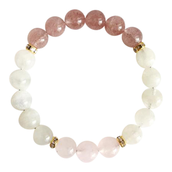 Fertility - Moonstone, Muscovite & Rose Quartz Gold Plated Bracelet