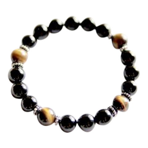 Focus, Protection and Luck - Black Onyx & Tiger's Eye Sterling Silver Bracelet
